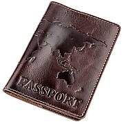 Кожаная обложка на паспорт с картой SHVIGEL 13946 Коричневая, Коричневый