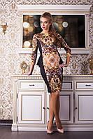 Женское черное платье с баской, коричневый принт