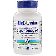 Супер Омега-3, Omega Foundations, Super Omega-3, Life Extension, 60 Желатинових Капсул