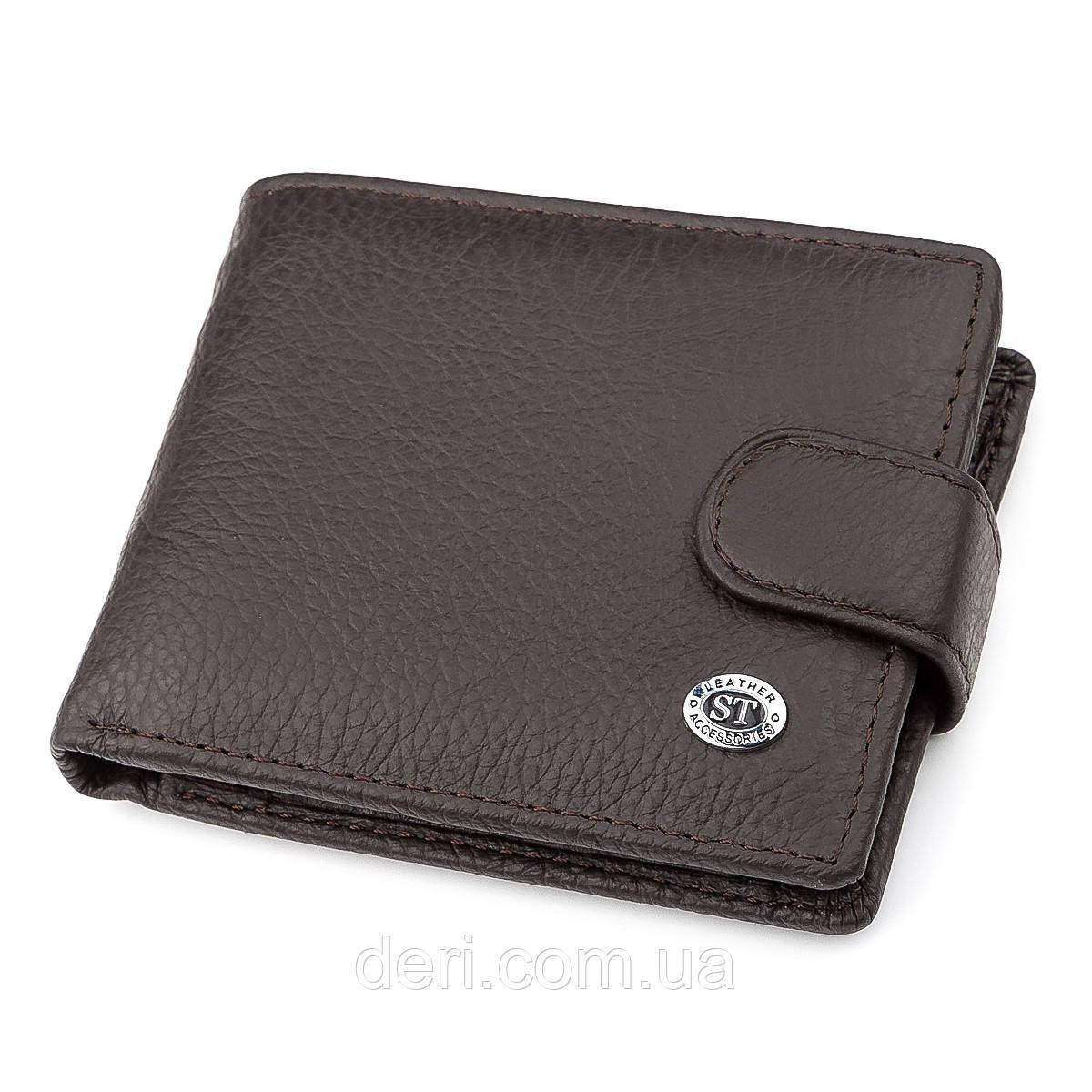 Чоловічий гаманець з натуральної шкіри коричневий ST Leather