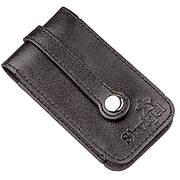 Компактна шкіряна ключниця SHVIGEL 13961 Чорна, Чорний