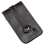 Компактна шкіряна ключниця з хлястиком SHVIGEL 13988 Чорна