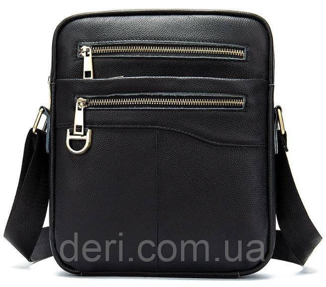 Компактна чоловіча сумка шкіряна Vintage 14824 Чорна, Чорний