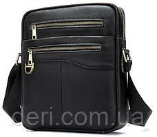 Компактна чоловіча сумка шкіряна Vintage 14824 Чорна, Чорний, фото 3