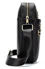 Компактна чоловіча сумка шкіряна Vintage 14824 Чорна, Чорний, фото 2