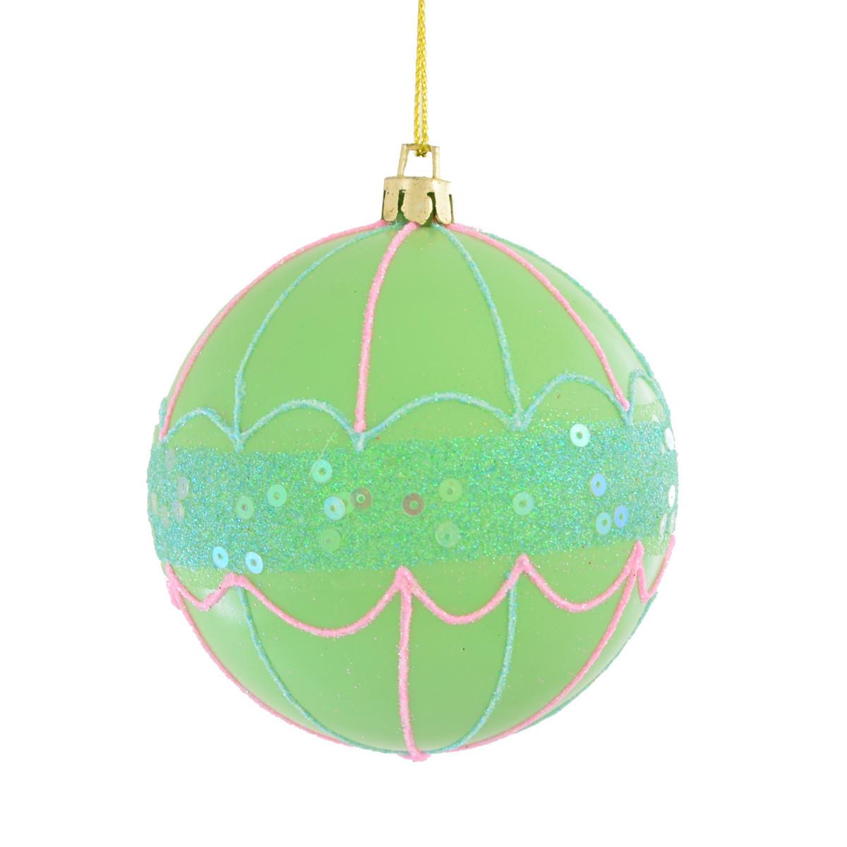 Шар ''Зонтик'' с глиттером и пайетками, зеленый d-8 см