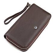 Чоловічий гаманець на дві блискавки коричневий з ручкою