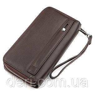 Мужской кошелек на две молнии коричневый с ручкой, фото 2