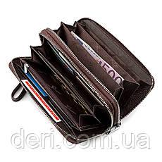Мужской кошелек на две молнии коричневый с ручкой, фото 3