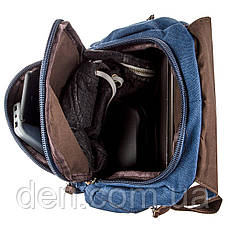 Компактний жіночий текстильний рюкзак Vintage 20197 Синій, фото 3