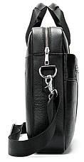 Сумка деловая мужская кожаная Vintage 14794 Черная, Черный, фото 2