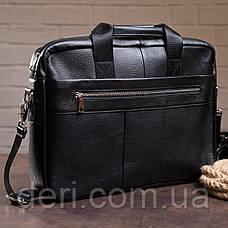 Сумка деловая мужская кожаная Vintage 14794 Черная, Черный, фото 3