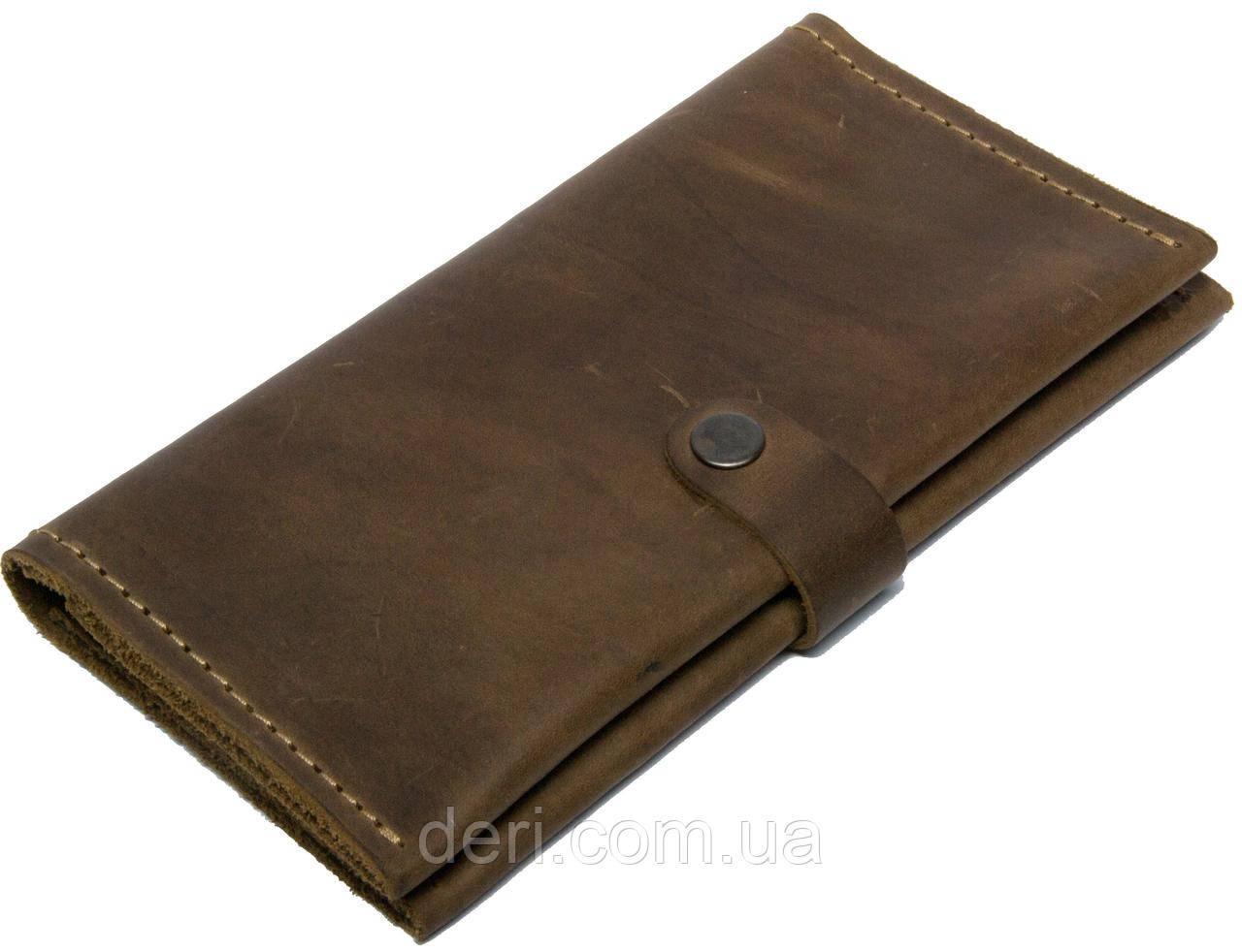 Чоловічий тонкий гаманець з натуральної шкіри коричневий