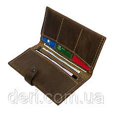 Чоловічий тонкий гаманець з натуральної шкіри коричневий, фото 3
