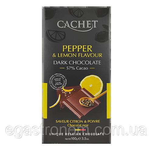 Шоколад Кашет чорний шоколад з перцем та лимоном Cashet Pepper&Lemon 100g 12шт/ящ (Код : 00-00004563)