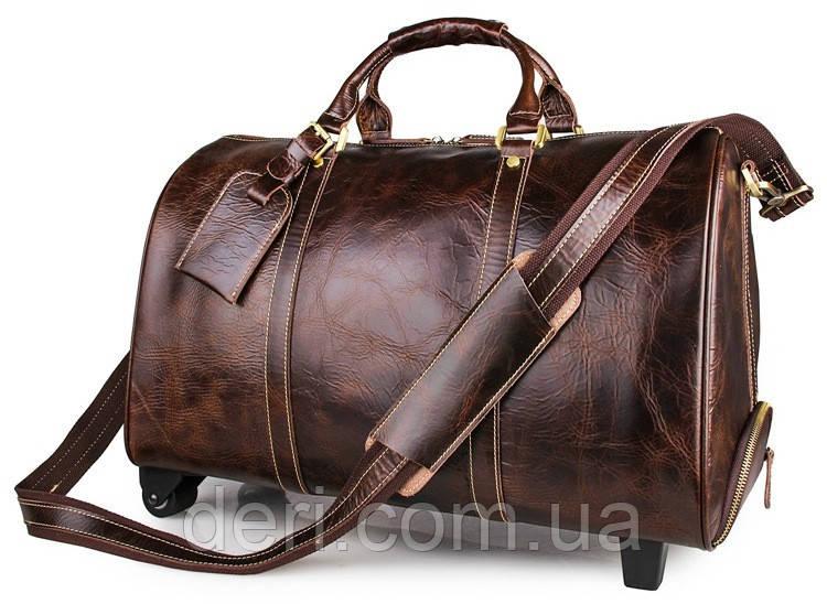 Сумка дорожная Vintage 14254 на колесах Коричневая, Коричневый