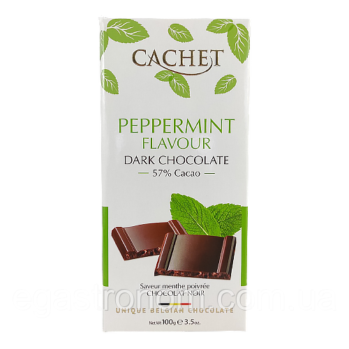 Шоколад Кашет чорний шоколад м`ята Cashet Peppermint 100g 12шт/ящ (Код : 00-00004560)