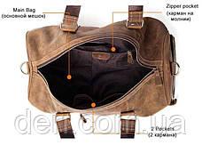 Сумка дорожная мужская кожаная Vintage 14893 Коричневая, Коричневый, фото 3