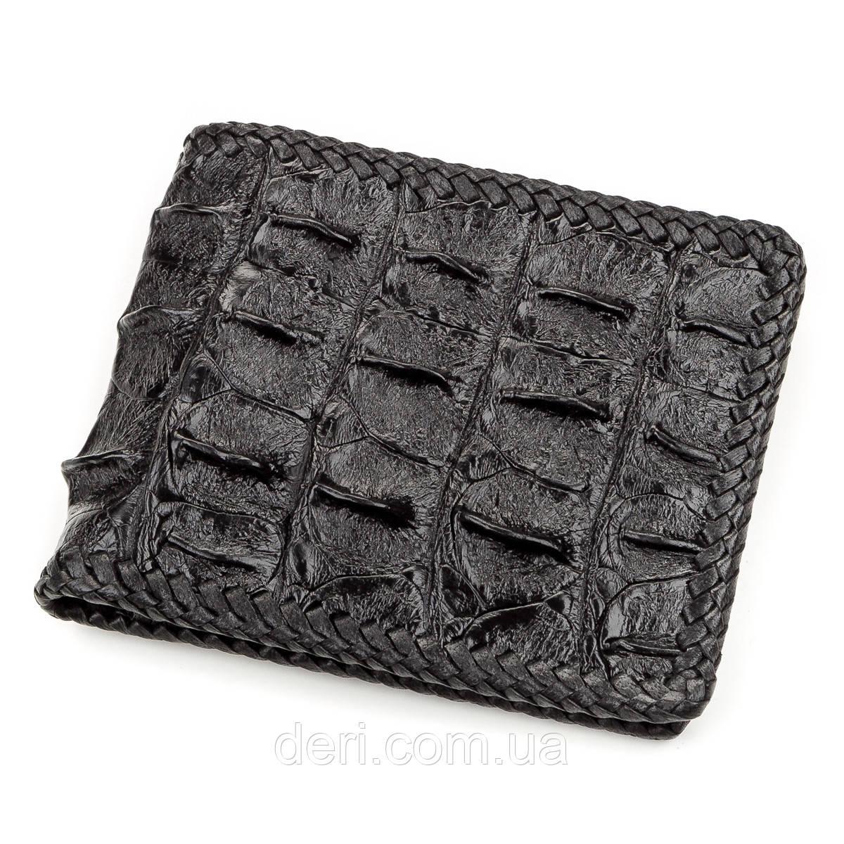 Портмоне CROCODILE LEATHER з натуральної шкіри крокодила Чорне, Чорний
