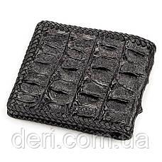 Портмоне CROCODILE LEATHER з натуральної шкіри крокодила Чорне, Чорний, фото 2