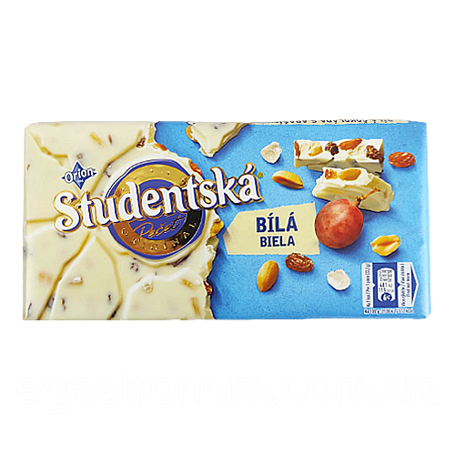Шоколад Студентська біла Studentska 180g 16шт/ящ (Код : 00-00004912)