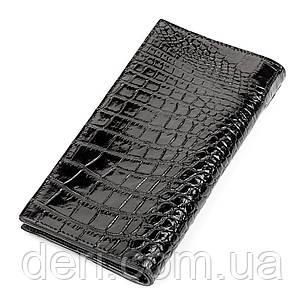 Портмоне вертикальное CROCODILE LEATHER 18267 из натуральной кожи крокодила Черное, Черный, фото 2