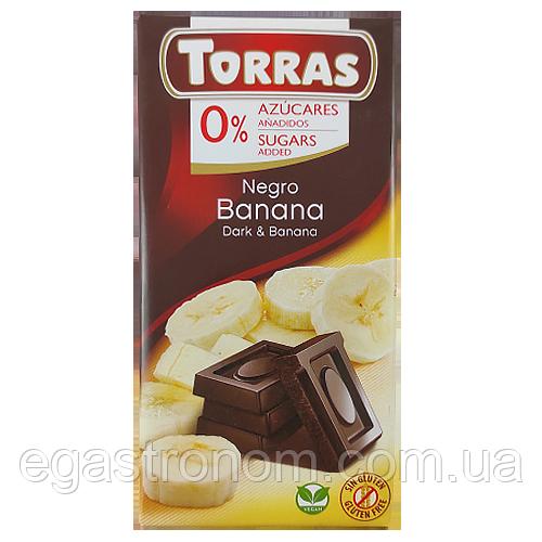 Шоколад Торрас чорн. шок. із бананом Torras negro banana 75g 12шт/ящ (Код : 00-00004010)