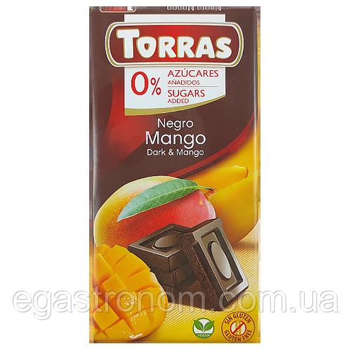 Шоколад Торрас чорн. шок. з манго Torras negro mango 75g 12шт/ящ (Код : 00-00004005)