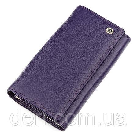 З натуральної шкіри гаманець жіночий фіолетовий, фото 2