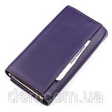 З натуральної шкіри гаманець жіночий фіолетовий, фото 3