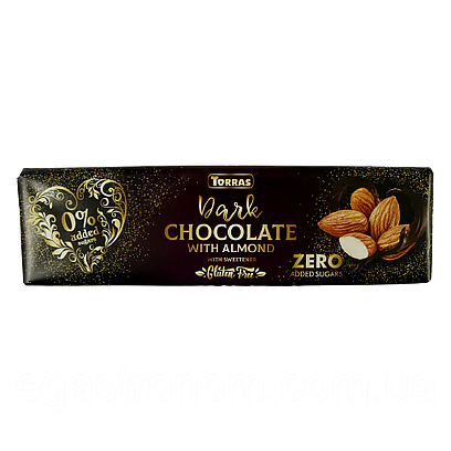 Шоколад Торрас чорний з мигдалем без цукру Torras dark almond ZERO 300g 14шт/ящ (Код : 00-00005481)