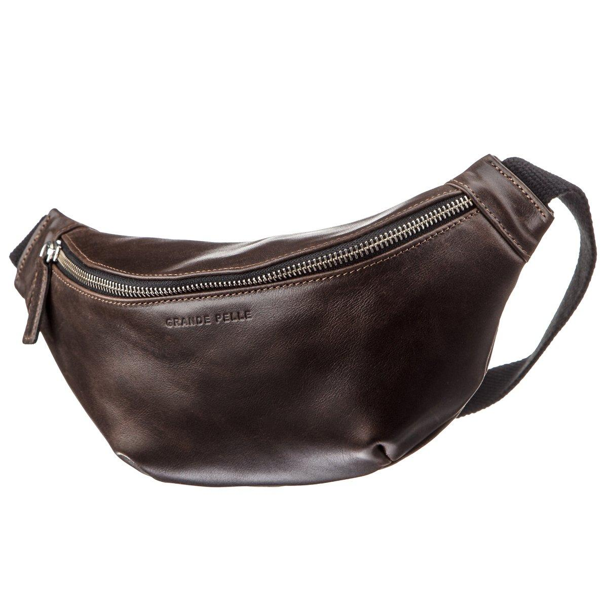 Поясная сумка GRANDE PELLE 11143 Темно-коричневая