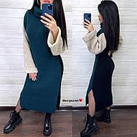 Теплое вязаное платье с разрезами Tricveta