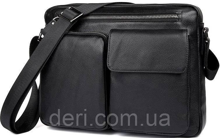 Сумка чоловіча Vintage 14521 шкіряна Чорна, Чорний