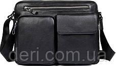 Сумка чоловіча Vintage 14521 шкіряна Чорна, Чорний, фото 2