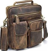 Сумка мужская Vintage 14640 кожаная Коричневая, Коричневый