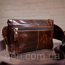 Поясна сумка чоловіча Vintage 14815 Коричневий, Коричневий, фото 3