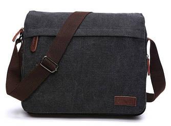 Сумка почтальонка текстильная Vintage 20088 Черная