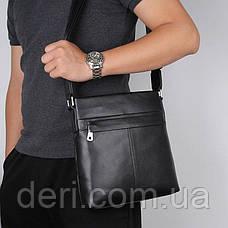 Сумка чоловіча гладкій шкірі Vintage 14981 Чорна, Чорний, фото 3