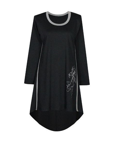 Модное платье с напуском по спине и праздничным принтом ИРИСЫ,цвет вставок СЕРЫЙ