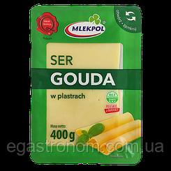 Сир нарізка Млекпол Гауда Mlekpol Gouda 400g 24шт/ящ (Код : 00-00004618)
