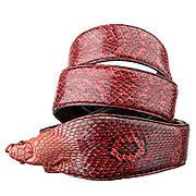 Ремень SNAKE LEATHER 18593 из натуральной кожи кобры Красный, Красный