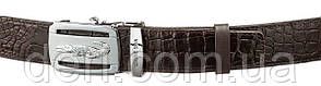 Ремень автомат CROCODILE LEATHER 18607 из натуральной кожи крокодила Коричневый, Коричневый, фото 2