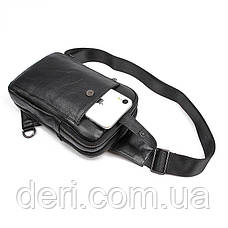 Сумка мужская кожаная в зернистой коже через плечо Vintage 14950 Черная, Черный, фото 3