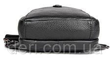 Сумка мужская кожаная в зернистой коже через плечо Vintage 14950 Черная, Черный, фото 2