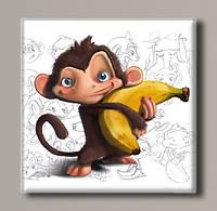 "Картина на холсте  ""Обезьянка с бананом"""