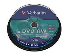 DVD-RW Verbatim (43552) 4.7 GB/120 min 4x (10 pcs Cake Box)
