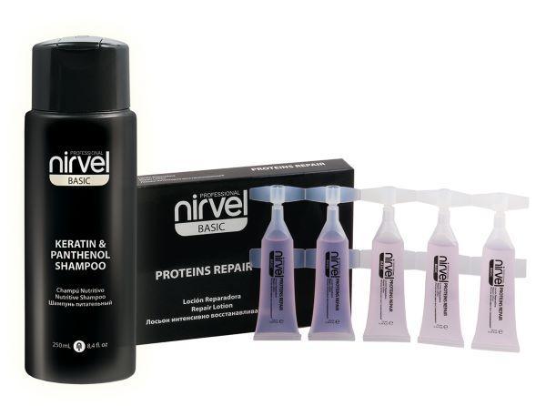 Nirvel Proessional. Набор для восстановления волос (шампунь кератин + протеиновые ампулы).