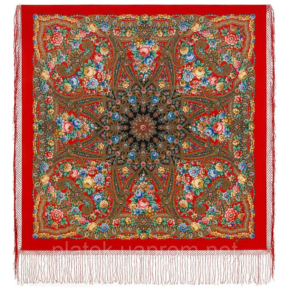 Павловопосадский 1816-16, павлопосадский хустку (шаль) з ущільненої вовни з шовковою бахромою в'язаної