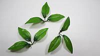 Искусственный зеленый двухцветный лист ландыша- 3-ка 1уп=50шт, фото 1